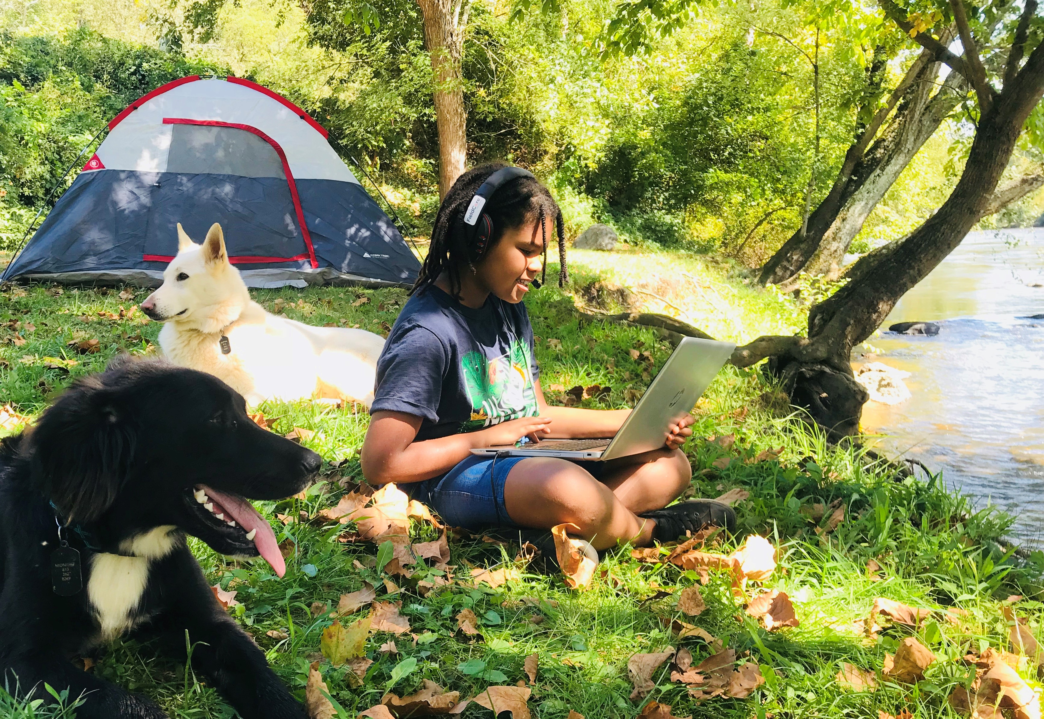 FieldCore Student tuning in from their campsite
